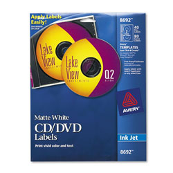 Avery CD/DVD White Matte Labels for Ink Jet Printers, 40 per Pack