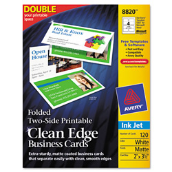 "Avery Clean Edge Inkjet Business Cards, White, 2 3 1/2"", 120 per Pack"