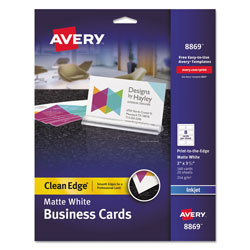 "Avery Clean Edge Business Cards for Ink Jet Printer, 2""x3 1/2"", Matte White, 160 per Pack"