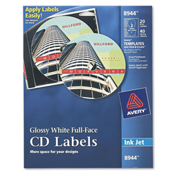 Avery Ink Jet Printer, Full Face Glossy White CD Labels, 20 Labels & 40 Inserts per Pack