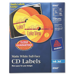 Avery Ink Jet Printer, Full Face Matte White CD Labels, 40 Labels & 80 Inserts per Pack