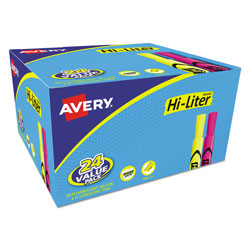 Avery Hi Liter® Fluorescent Desk Style Highlighters, Value Pack 20 + 4 Free