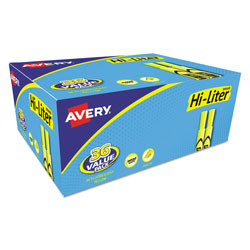 Avery Desk Style Highlighters, Chisel Tip, Fluorescent Yellow, 36/Box