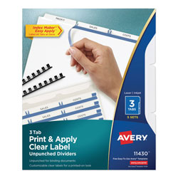 Avery IndexMaker® Clear Label Unpunched Dividers with White Tabs
