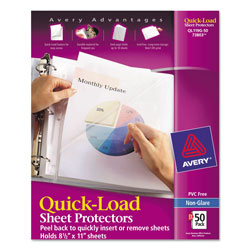 Avery Quick Top Side Loading Sheet Protectors, Pack of 50