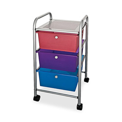 Advantus Portable Three Drawer Organizer, Chrome Metal Frame/Multi Colored Drawers