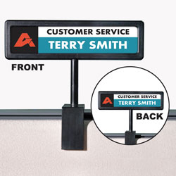 Advantus People Pointer Cubicle Sign, Black, 9 x 4