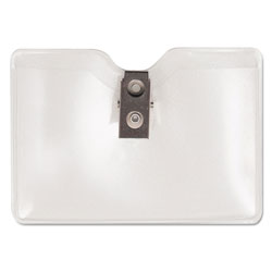 Advantus Security Badge ID Holder, Vinyl, Prepunched, Horizontal Style with Clip, 50/Box