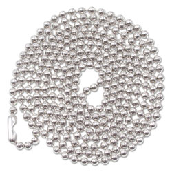 "Advantus Nickel Plated, Beaded ID Badge Holder Chain, 36"" Long, 100 per Box"
