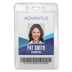 Advantus Security Badge ID Holders, Vinyl, Prepunched, Vertical Style with Clip, 50/Box