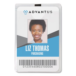 Advantus Clear Vinyl ID Badge Holder, Punched, 3 x 4, Vertical with Clip, 50/Box