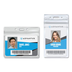 Advantus Resealable Badge Holder, 2 5/8 x 3 3/4, Horizontal, Prepunched, 50 per Box