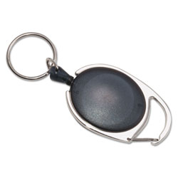 "Advantus 30"" Extension Carabiner-Style Retractable ID Card Reel, Smoke"