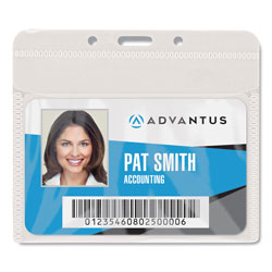 "Advantus PVC-Free Badge Holders, Horizontal, 4"""" x 3"""", Clear, 25/Pack"