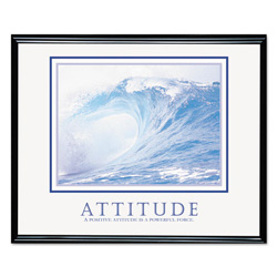 "Advantus Framed ""Attitude Waves"" Motivational Print, 30w x 24h, Black Frame"