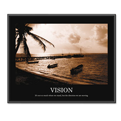 "Advantus ""Vision"" Framed Sepia Tone Motivational Print, 30""w x 24""h"