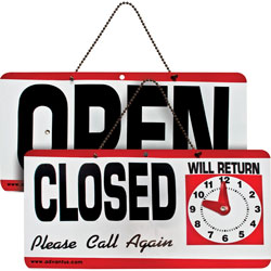 "Advantus Reversible Open/Closed Sign with ""Will Return"" Clock, 11-1/2x6, Red/White/Black"