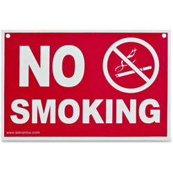Advantus Economy No Smoking Wall Sign, 8 x 12, Red/White