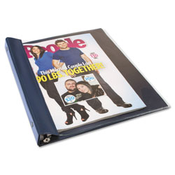 Read Right/Advantus Vinyl Magazine Binder, 9 1/2w x 11-1/4h, Clear Front Cover, Navy Blue Back