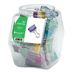 Baumgarten's Mini Metallic Colored Binder Clips in a Display Bowl, 1/2""