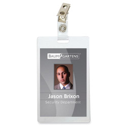 "Baumgarten's Vertical Self-Laminating Badge with Strap Clip, 3-3/8"" x 2-1/8"""