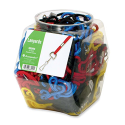 Baumgarten's Red, Blue, Yellow and Black Standard Lanyards with Hook in a Display Bowl, 38""
