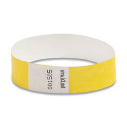 "Baumgarten's Security Wrist Band, Tear Resistant, 10""x3/4"", Yellow"