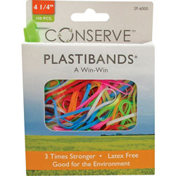 "Baumgarten's PlastiBands, Size 4 1/4"", 100/BX, Assorted Colors"