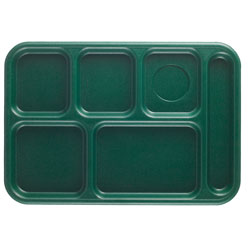 "Cambro Six Compartment 10"" x 14 1/2"" Budget Serving Tray, Sherwood Green"