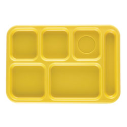 "Cambro Six Compartment 10"" x 14 1/2"" Budget Serving Tray, Yellw"