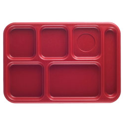 "Cambro Six Compartment 10"" x 14 1/2"" Budget Serving Tray, Rose Red"