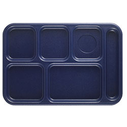 "Cambro Six Compartment 10"" x 14 1/2"" Budget Serving Tray, Navy Blue"