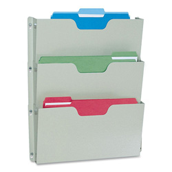 Buddy Three Pocket Recycled Steel Wall File, Letter Size, Platinum