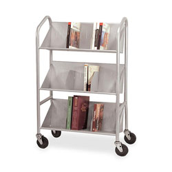 "Buddy Gray Sloped Shelf Book Cart with Three Shelves, 26""w x 8""d x 41 1/2""h"