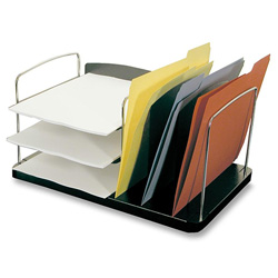 "Buddy Charcoal Desk Combo with Six Sections, Plastic/Steel/Wire, 16 1/4""w x 11""d x 8 1/4""h"