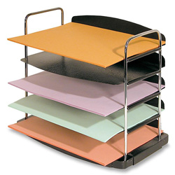"Buddy Charcoal 5 Pocket Horizontal Desk Tray, Plastic/Steel/Wire, 12"" x 8 1/2"" x 11 1/4"""
