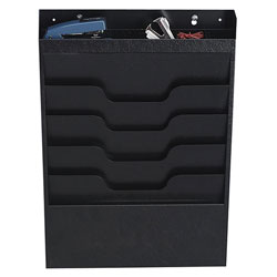 Buddy 4 Pocket Recycled Steel Wall File with Supplies Organizer, Letter Size, Black