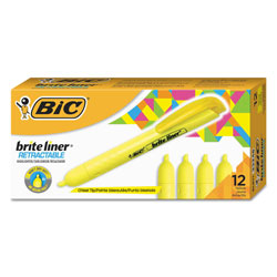 Bic Retractable Highlighter, Chisel Tip, Fluorescent Yellow, 12/Pk