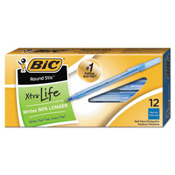 Bic Ballpoint Pen, Medium Point, 1.0mm, Blue Ink, Dozen