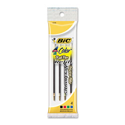 Bic Refills for 4 Color Retractable Ballpoint Pen, Medium Point, 4/Pack