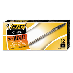 Bic Pen, Ballpoint, 1.6mm, Bold Point, Clear Barrel/Black Ink
