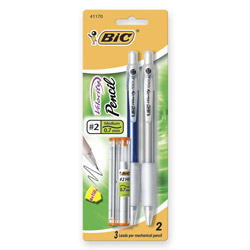Bic Mechanical Pencil, Refillable, Rubbergrip, .7mm, Assorted