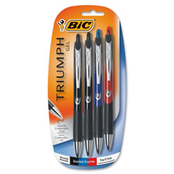 Bic Gel Pen, Retractable, Rubber Grip, .7mm, Med Pt., 4/PK, Assorted