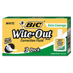 Bic Extra Coverage Correction Fluid, 20ml Bottle, White, 3 per Pack