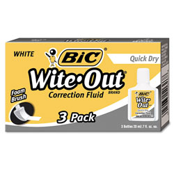 Bic Quick Dry Correction Fluid, 20ml Bottle, White, 3 per Pack