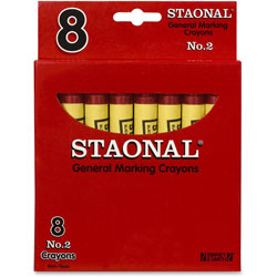 Staonal® Marking Crayon, Permanent, Jumbo Size, Nontoxic, Red, 8/Box