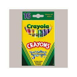 Binney and Smith Regular Size Washable Crayons, 16 Color Pack