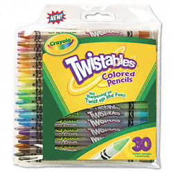 Binney and Smith Twistables Retractable Colored Pencils, Clear Barrel, Asst Colors, 30 Pack