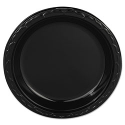 "Genpak Disposable 9"" Plastic Plates, Black, Case of 400"