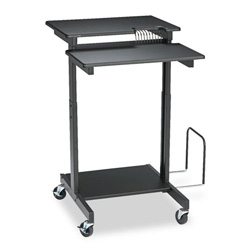 Balt 85052 Height Adjustable Web A/V Stand Up Workstation w/CPU Holder, Black